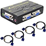4 Port USB 2.0 VGA KVM Switch Up to 2048x1536 Resolution with USB Hub for PC/Montior/Mouse/Keyboard Control
