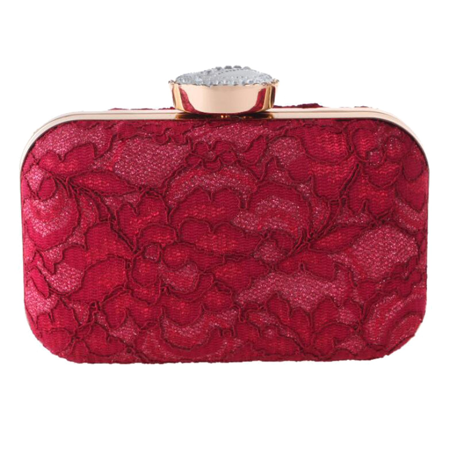 EPLAZA Women Lace Evening Clutch Bags Party Handbags Vintage Bridal Wedding Purse (burgundy)