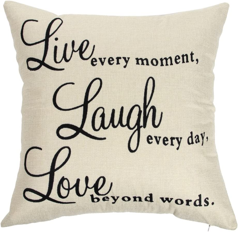 """Ogiselestyle Live Every Moment Laugh Every Day Love Beyond Words Motivational Sign Cotton Linen Home Decorative Throw Pillow Case Cushion Cover with Words for Book Lover Sofa Couch 18"""" x 18"""""""