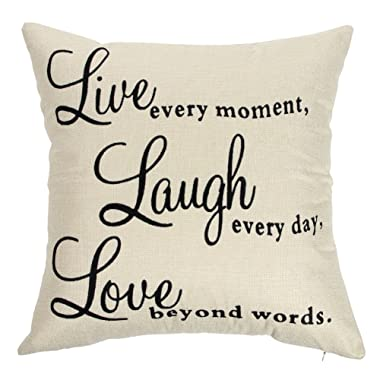 Ogiselestyle Live Every Moment Laugh Every Day Love Beyond Words Motivational Sign Cotton Linen Home Decorative Throw Pillow Case Cushion Cover with Words for Book Lover Sofa Couch 18  x 18