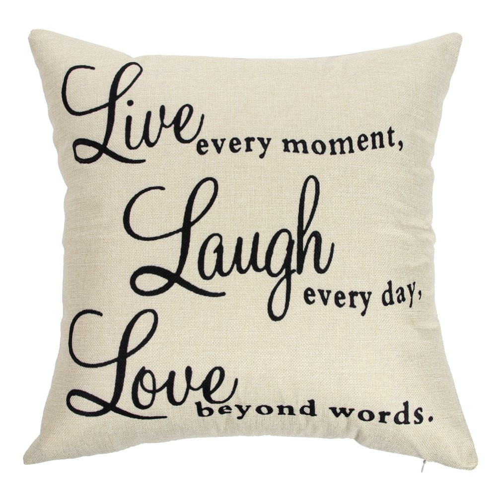 Ogiselestyle Live Every Moment Laugh Every Day Love Beyond Words Motivational Sign Cotton Linen Home Decorative Throw Pillow Case Cushion Cover with Words for Book Lover Sofa Couch 18'' x 18'' by Ogiselestyle