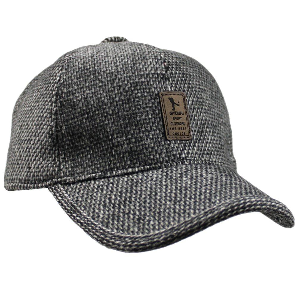 Men's Winter Wool Fleece Faux Fur Peaked Baseball Cap Hat With Fold Ear Warmer HT_9077_COF