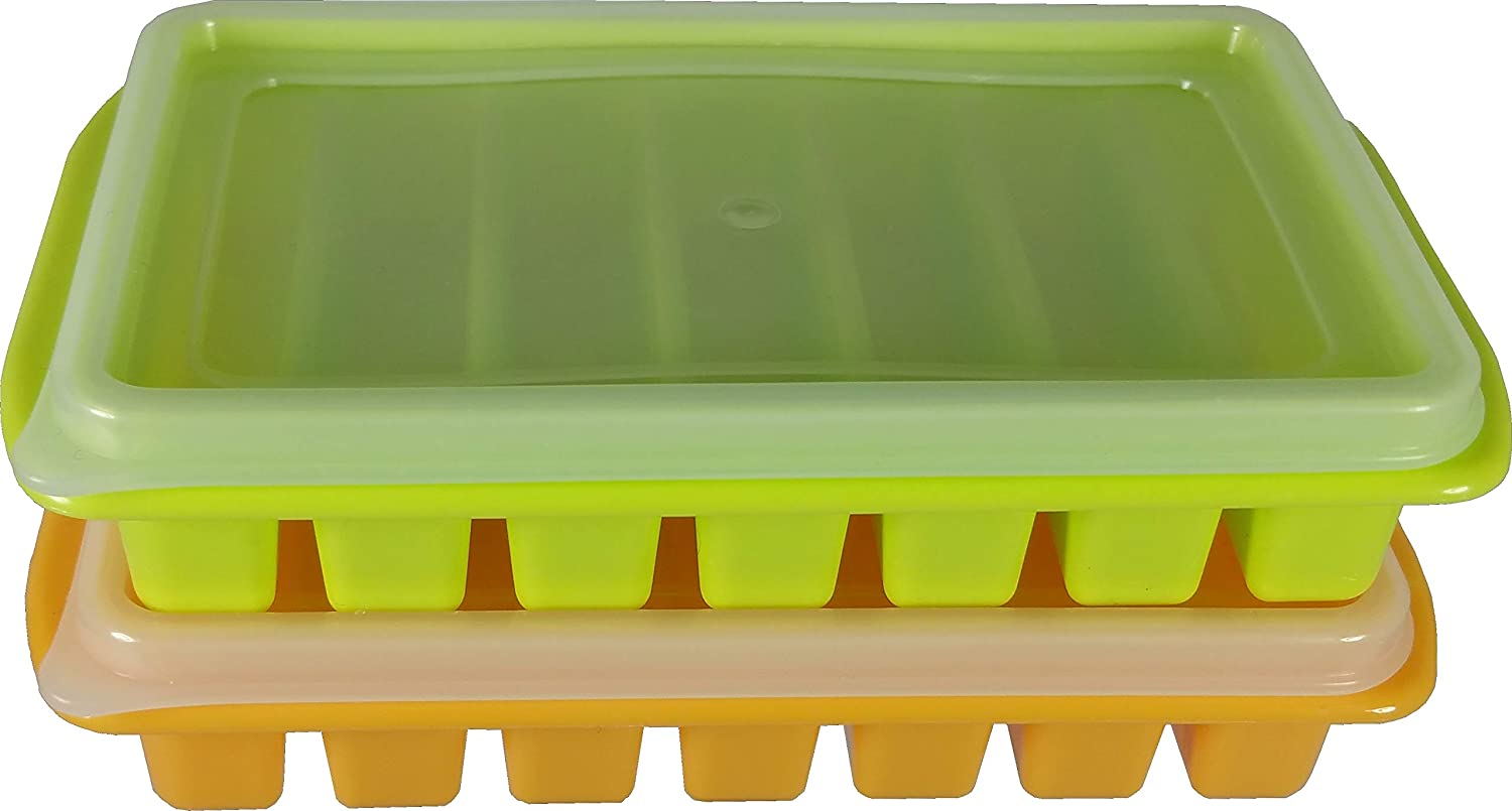 2 Mini Ice Cube Trays with Lids - Creates Perfect Ice for Water Bottles - Great Size for Small Dorm Freezers, Campers and RVs with No Spill Covers by Bluamour (Orange & Green)
