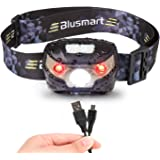 Headlamp LED, Blusmart Headlamps Rechargeable USB Running White CREE and Red lights 5 Modes, 150 Lumens, Waterproof Headlight for Fishing Walking Camping Reading Hiking DIY and More (USB Cable Included)