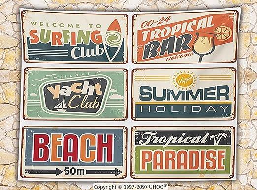 1950s Decor manta de forro polar vacaciones de verano Vintage Camping playa manta juntas en tenue de estilo antiguo de colores Arte de cartel de: Amazon.es: Hogar