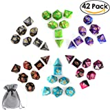 PBPBOX Polyhedral D&D Dice Set 6 x 7-Die for Dungeons and Dragons Table Games