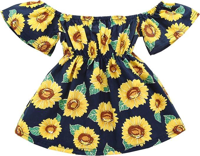 TINTAO LJJ04 Vestido de Girasol con Estampado Floral para niñas ...