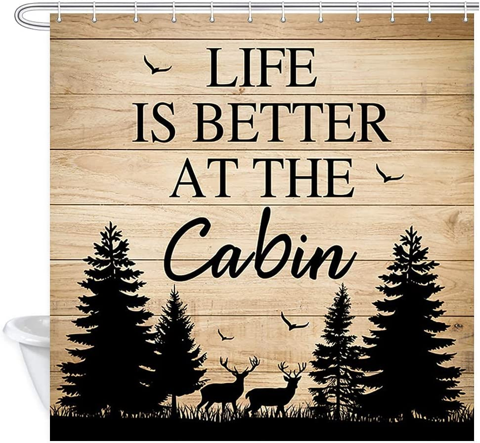 Cabin Life Shower Curtain, Deer and Forest on Rustic Wooden Plank Life is Better at The Cabin Waterproof Polyester Fabric Shower Curtain and Hooks Bathroom Decor 72x72 Inch