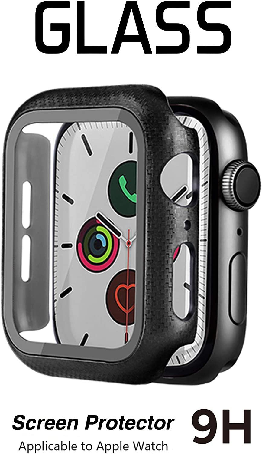 SNSIR Case for Apple Watch 42mm Series 3/2/1, Built-in Tempered Glass Screen Protector with a Carbon Fiber-Like Appearance Overall Protective Cover for iWatch Series 3/2/1 (42mm)