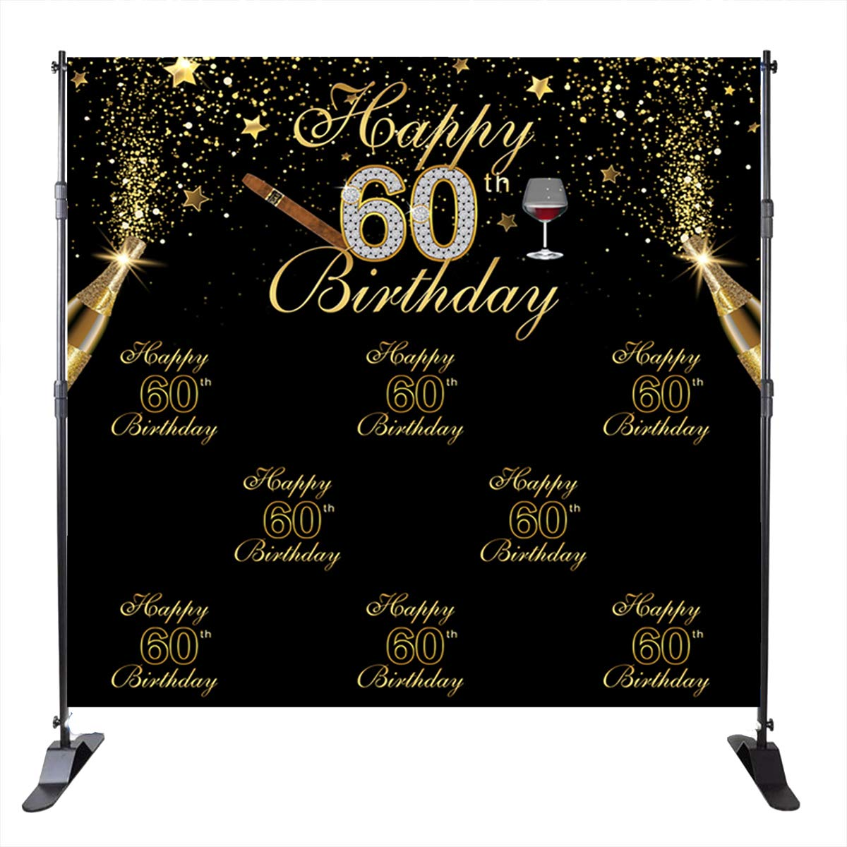 Mehofoto 60th Birthday Backdrop Champagne Cigar Background Black and Gold Star 60 Years Old Birthday Party Banner Decoration Men's Birthday Customized Photo Studio Props