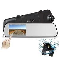 """AUTO-VOX M6 Autokamera DashCam Spiegel Rückfahrkamera Set, FHD 1080P Dual Lens,4.5"""" IPS TouchScreen Rückspiegel Monitor mit Backup Kamera Kit, Nachtsicht G-Sensor, Bewegungserkennung, Parkmonitor, Loop-Aufnahme, IP68 Wasserdichte LED"""
