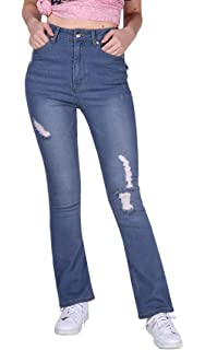 624953f9c2f Fenglover Womens High Waisted Jeans Ripped Skinny Stretchy Long Denim Pants