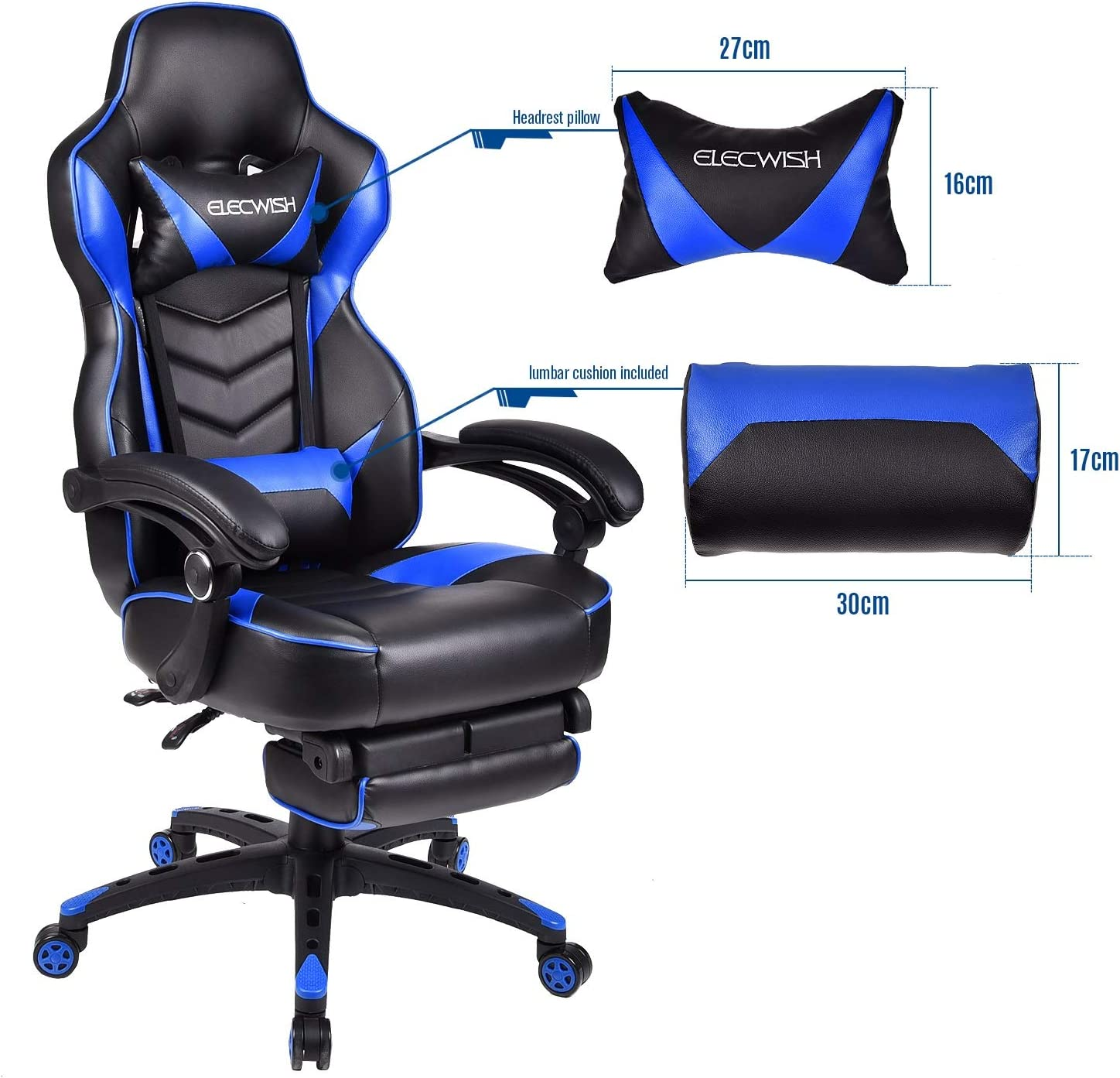 Swivel Racing Chair PU Leather Video Gaming High Back Chairs Ergonomic Office Chairs With Arm rest and Cushion,Blue