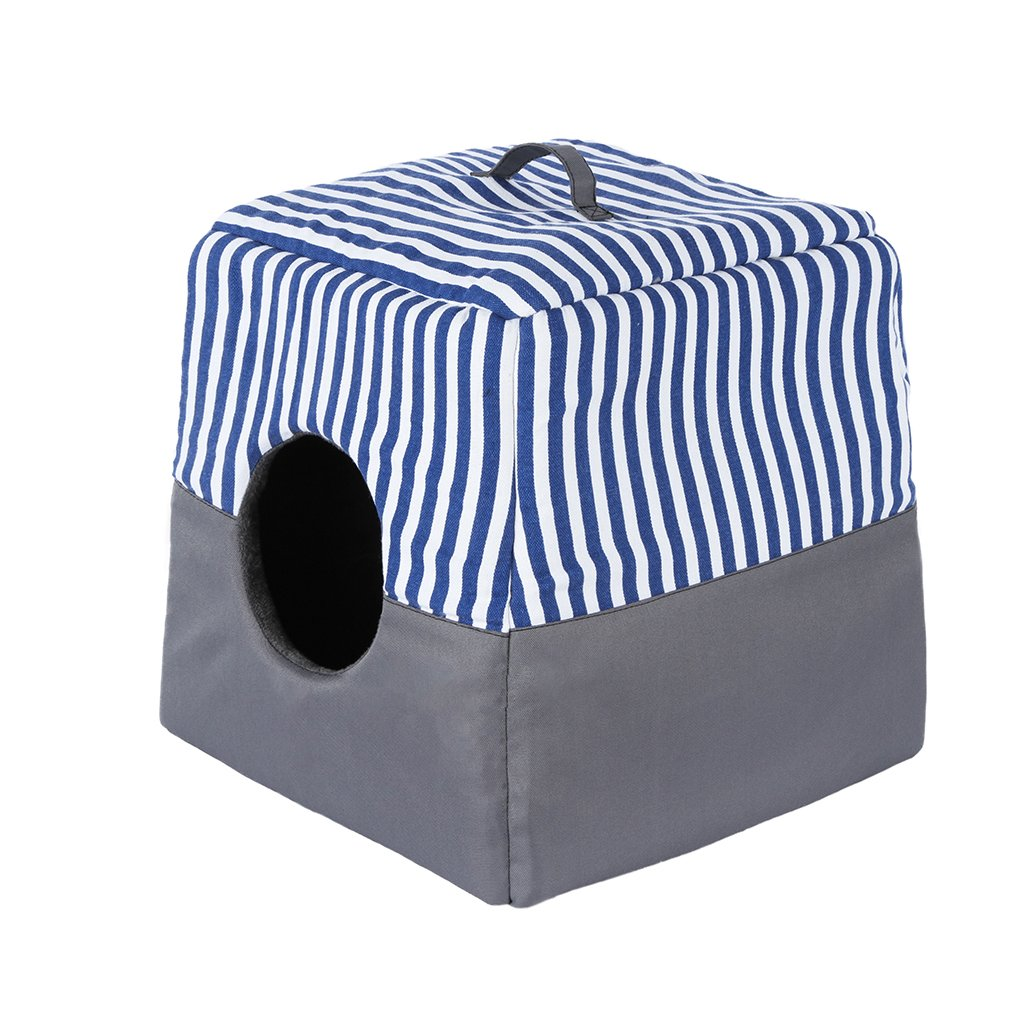 bluee Medium bluee Medium QIAOQI Cat House Bed, Dog Tent, Kitten Puppy Cave Cushion Bed Basket with Mat Foldable Medium bluee