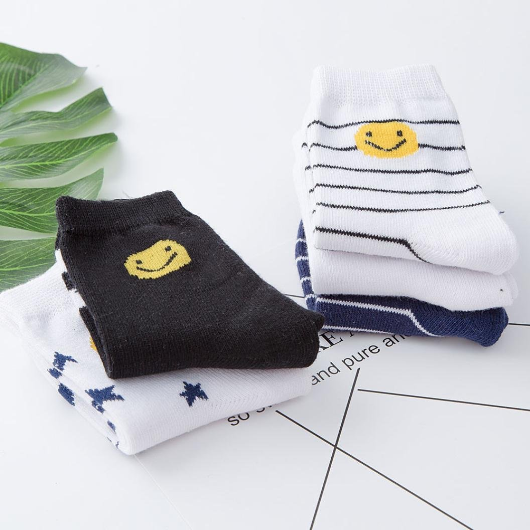 Suit for 1-12 Years old Kids,DIGOOD Boys Girls 5 Pairs Smile Printed Cotton Warm Socks