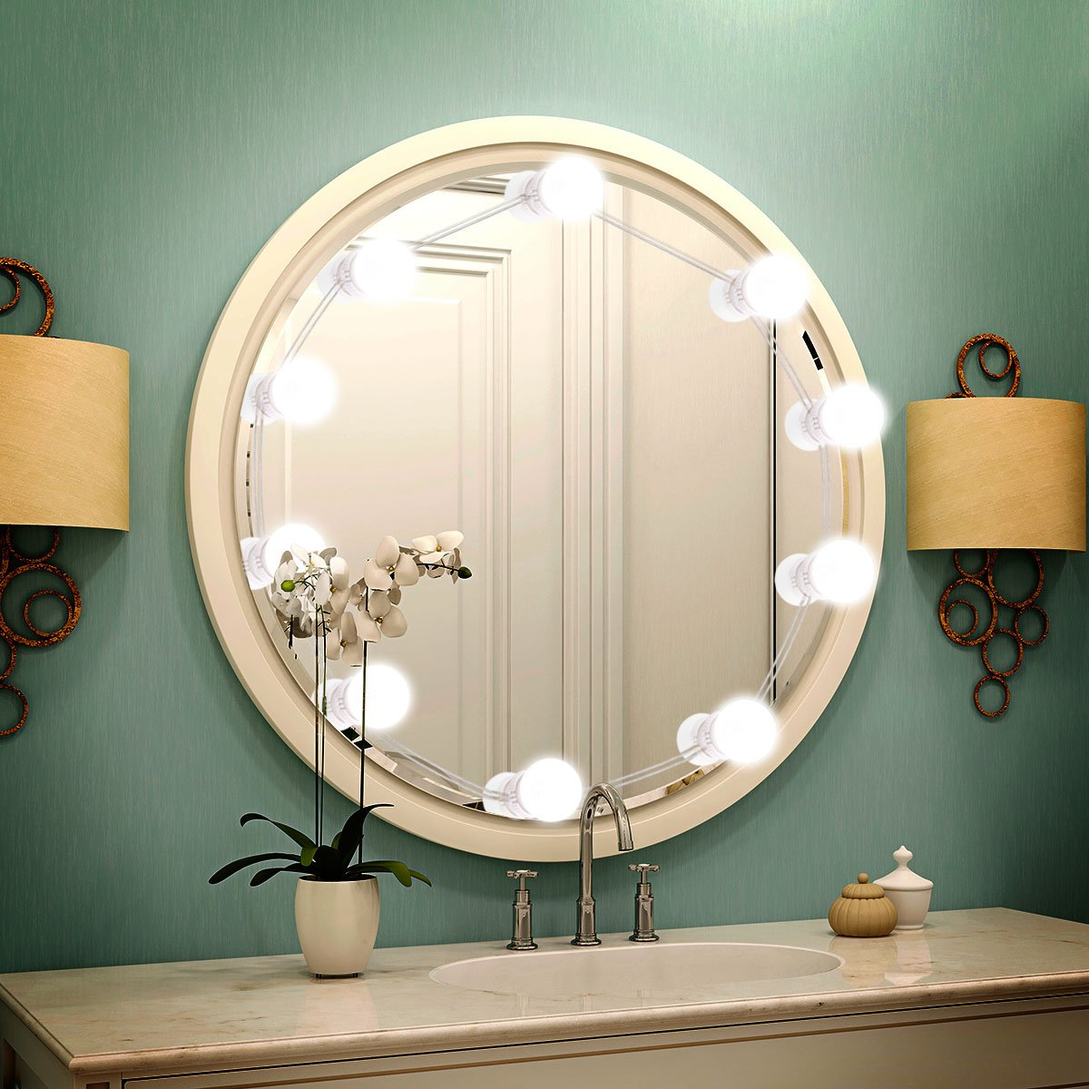 LED Vanity Mirror Lights, Lifelf Makeup Mirror Light Hollywood Style with 10 Dimmable LED Bulbs Kit with USB Powered for Makeup Table Set in Bathroom, Dressing Room,Bedroom-White (not Include Mirror)