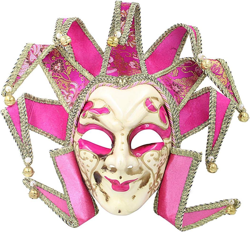 Hophen Pink Jester Masquerade Mardi Gras Venetian Mask Wall Decorative Art Collection Nine Angles