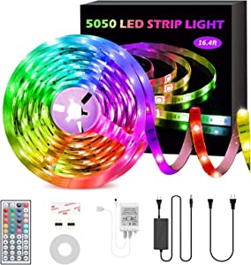 GSBLUNIE LED Strip Lights,16.4ft RGB LED Strips,SMD 5050 LED Color Changing Strip Light with 44 Keys Remote Controller,12V Power Supply,LED Rope Light for Home ,Bedroom,Kitchen,TV Backlight,Decoration
