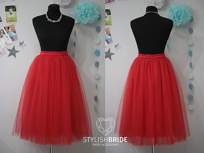 9be576c25b Amazon.com: Red #29 Tulle Skirt Casual Tulle Skirt, Red Women Tulle Skirt,  Engagement Party Red Tulle Skirt: Handmade