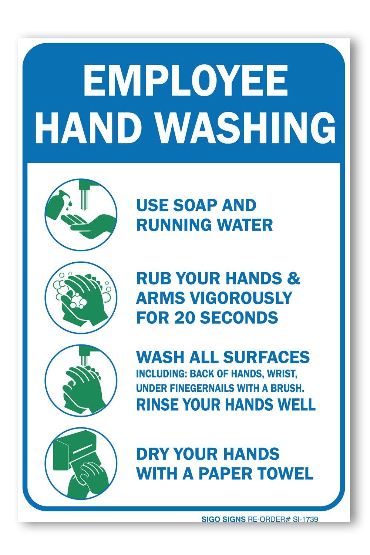 Sigo Signs (2パック)Employees 手洗い標識 10 X 7 4ミル スリークビニールデカールステッカー 耐候性 長持ち UV保護 防水 アメリカ製  B075X39LRG