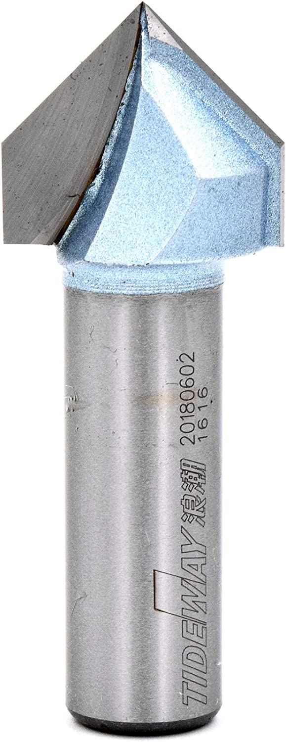 1//4-Inch Cutting Dia 1//4-Inch Shank Woodworking 90 Degree Carbide Tipped 2-Flute V-Groove Router Bit