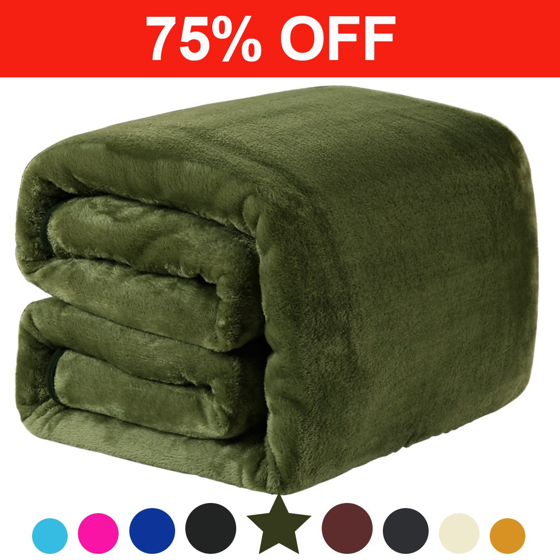 Fleece Twin Blanket 330 GSM Super Soft Warm Extra Silky Lightweight Bed Blanket, Couch Blanket, Travelling and Camping Blanket (Natural Green