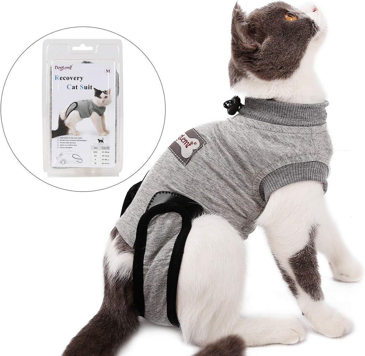 Tineer Traje de recuperación Mascota, Gato esterilización Cuidado de algodón Transpirable Use destete Prevenir Lick para Abdominales Enfermedades Heridas de la Piel después de la cirugía (S)