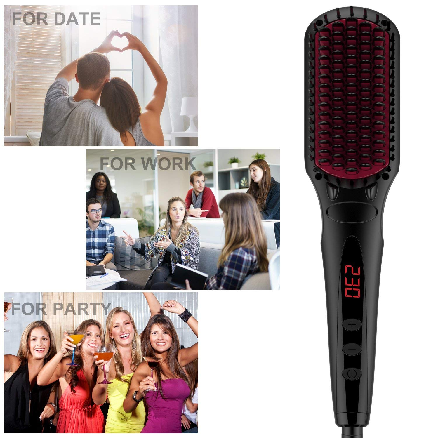 Enhanced Hair Straightener Brush by MiroPure, 2-in-1 Ionic Straightening Brush with Anti-Scald Feature, Auto Temperature Lock and Auto-off Function (Black) by MiroPure (Image #9)