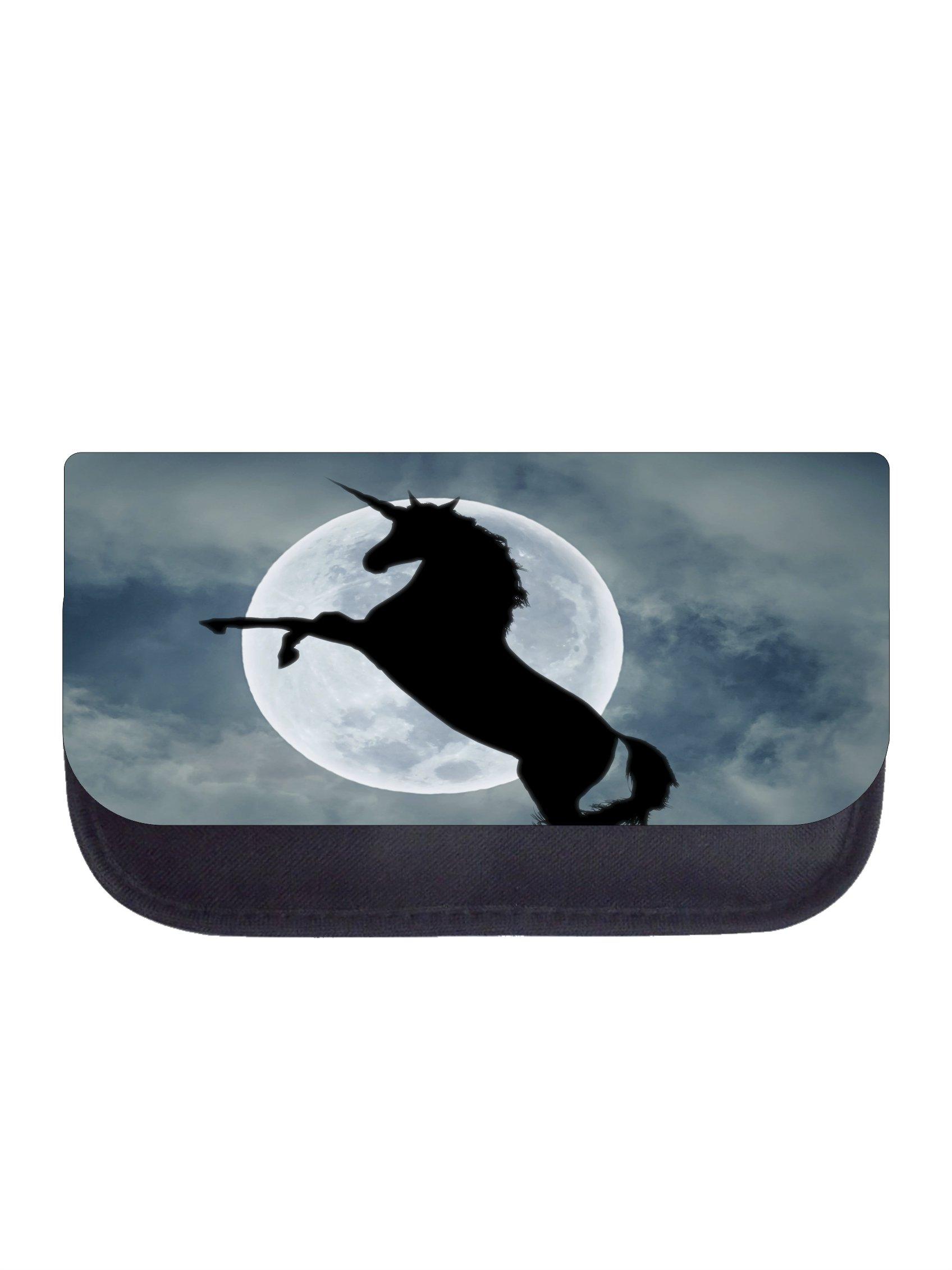 Unicorn in the Moonlight - Girls Black Pencil Case - Pencil Bag