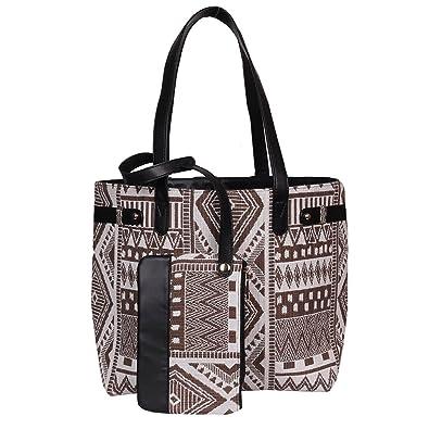 2cf460a4c3bc Tjori Brown Jacquard Leather Tote Bag With Moroccan Kilim Design 21.5x13x7   Amazon.in  Shoes   Handbags
