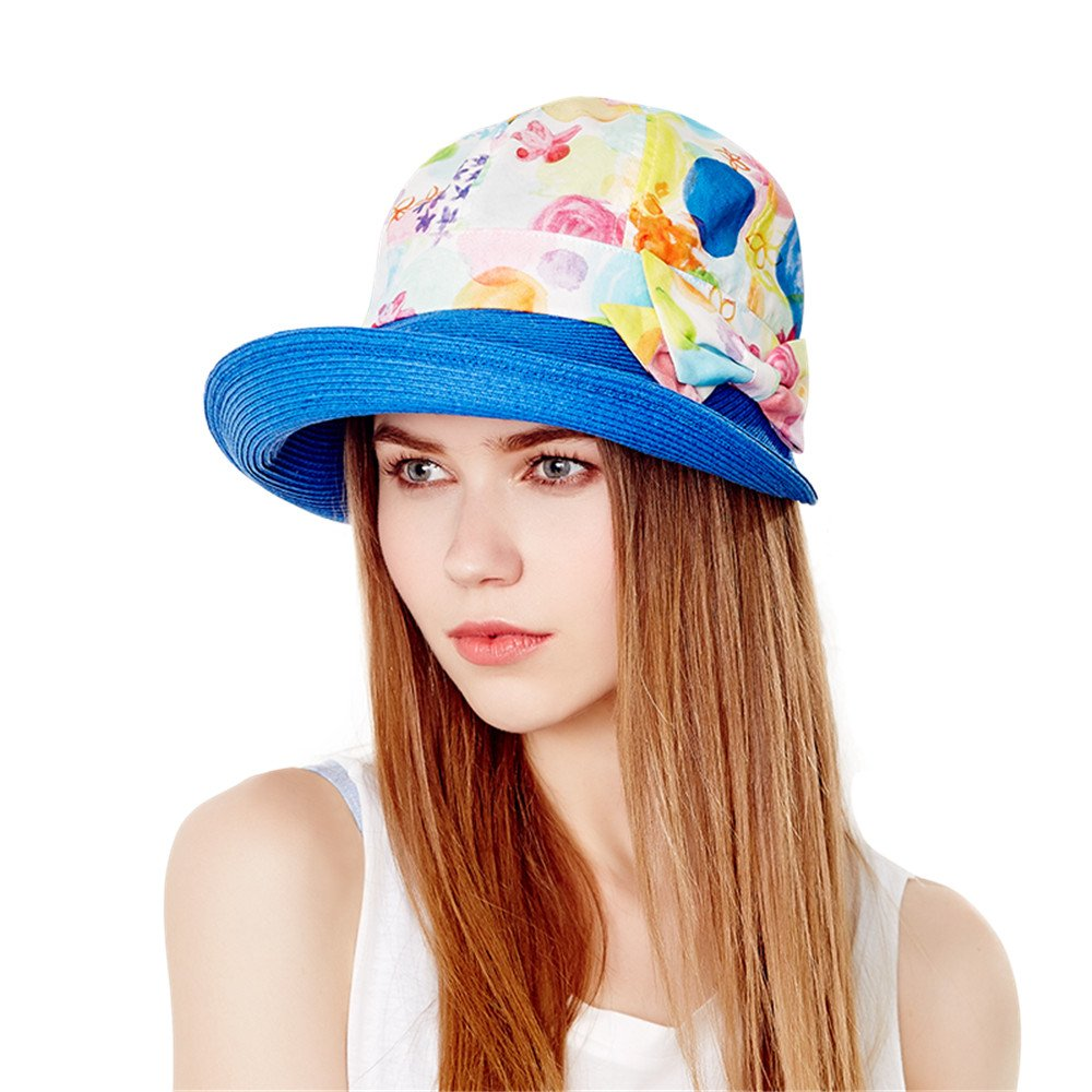 c424b40753c Amazon.com  Kenmont Summer Outdoor UV Protection Beach Sun Hat Cloche  Bucket Cap Women s Visor Hat With Papyrus Roll-up Big Brim (Cobalt Blue)   Clothing
