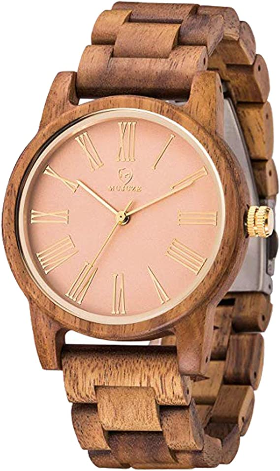 Reloj Mujer,MUJUZE Relojes de Cuarzo Natural Madera Caso Reloj de ...