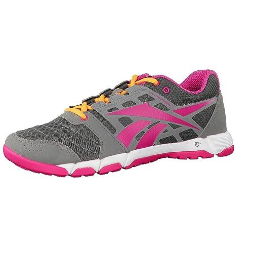 Reebok - Zapatillas para deportes de interior de material sintético para mujer, color gris, talla 36: Amazon.es: Zapatos y complementos