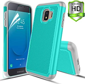 Compatible with Samsung Galaxy J2 Case/J2 Shine/J2 Core/J2 Dash/J2 Pure/J260 Case,w HD Screen Protector Dual Layers Protective Hard PC Football Lines Design Back Soft TPU Rubber Shockproof Case.Teal