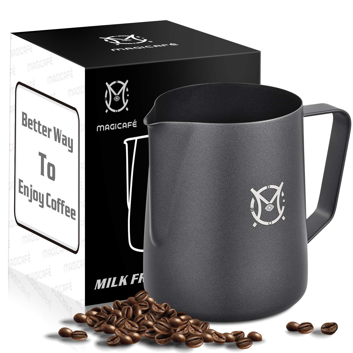 Magicafé Milk Frothing Frother Pitcher - Non Stick Coating Latte Art Espresso Cappuccino Metal Milk Steaming Pitcher Black 20oz/600ml by Magicafé