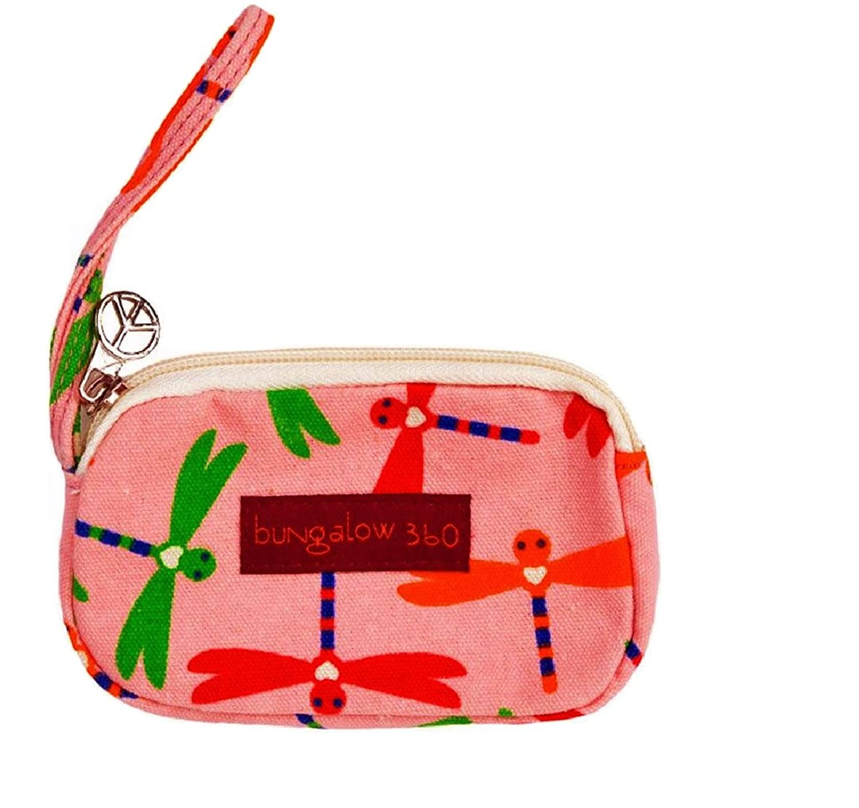 Bungalow360 Vegan Cotton Clutch Wristlet - Pink Dragonfly
