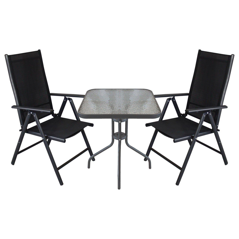 3tlg. Balkonmöbel Set - Glastisch 60x60cm + 2x Hochlehner, klappbar ...