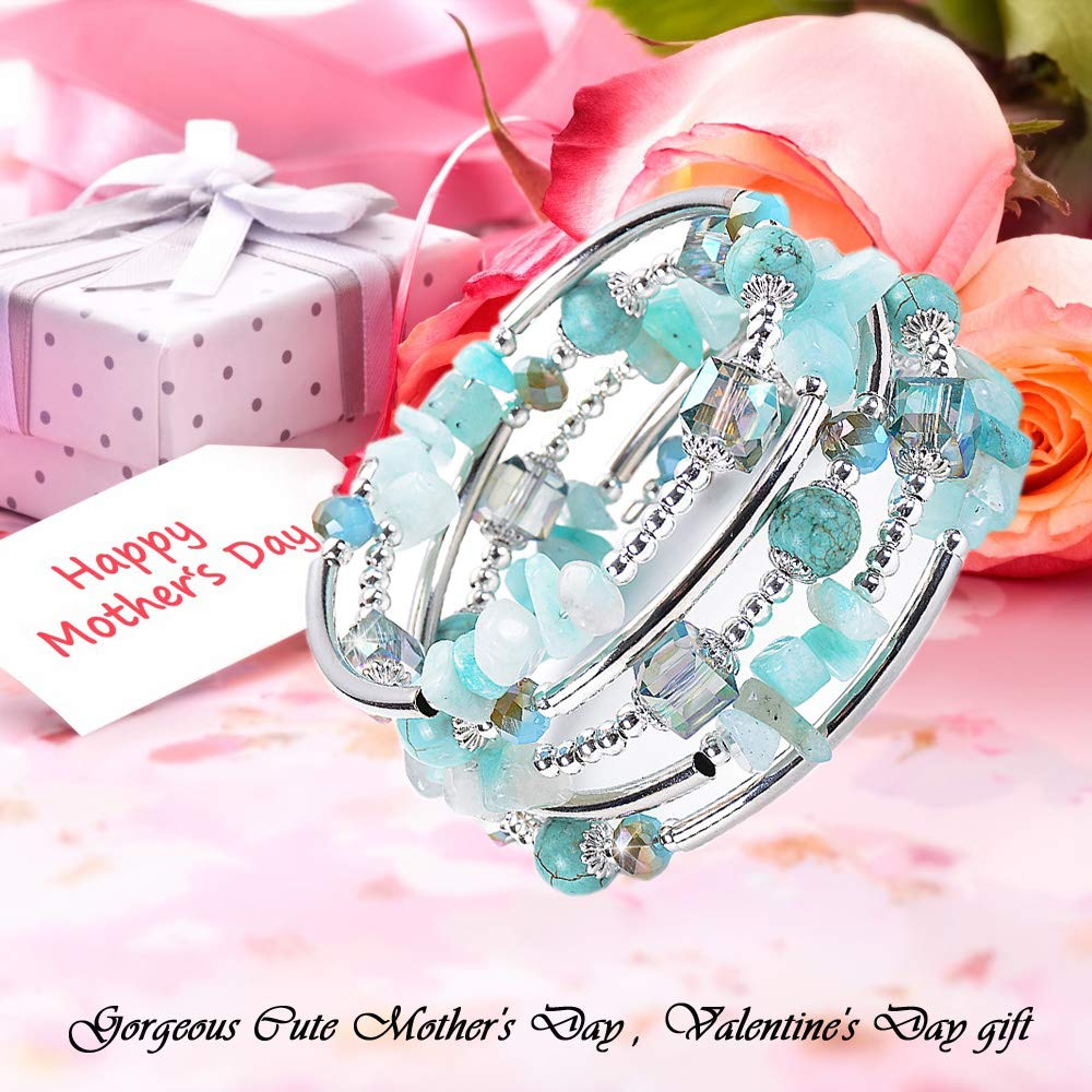 Boy Gift Boy Gift ANGELFLY Jewelry BC017-1 Ermish Stackable Tigers Eye Pulseras de Mujer Bracelet for Women Teen Girl A-Turquoise ANGELFLY Chakra Turquoise Lava Rock Beaded Boho Wrap Bangle Bracelets