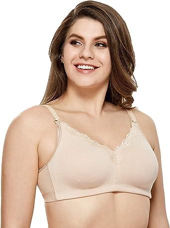 Gratlin Womens Wirefree Non Padded Plus Size Cotton Maternity Nursing Bra Lace