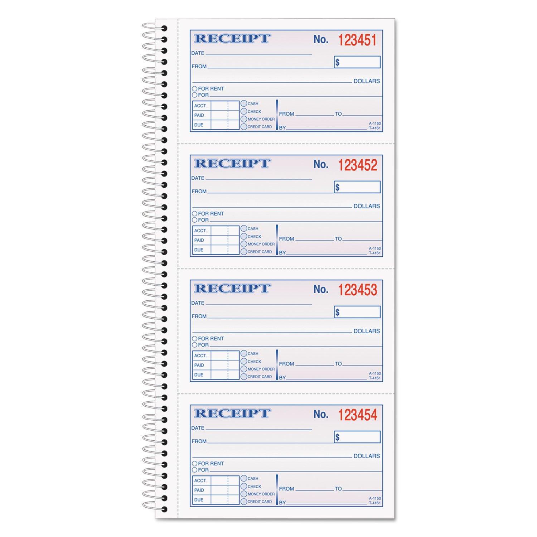 Adams SC1152 Money/Rent Receipt Book, 2-Part, 11 x 5-1/4, 200 Sets/Book