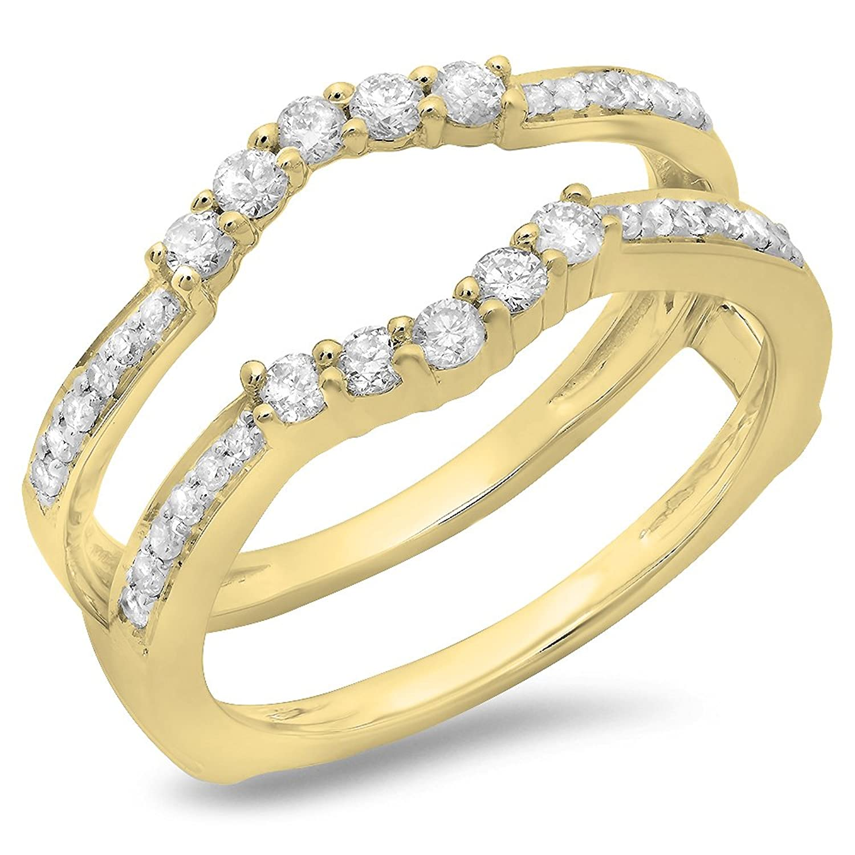 0.50 Carat (ctw) 14K Gold Round Cut Diamond Ladies Wedding 5 Stone Enhancer Guard Double Ring 1/2 CT