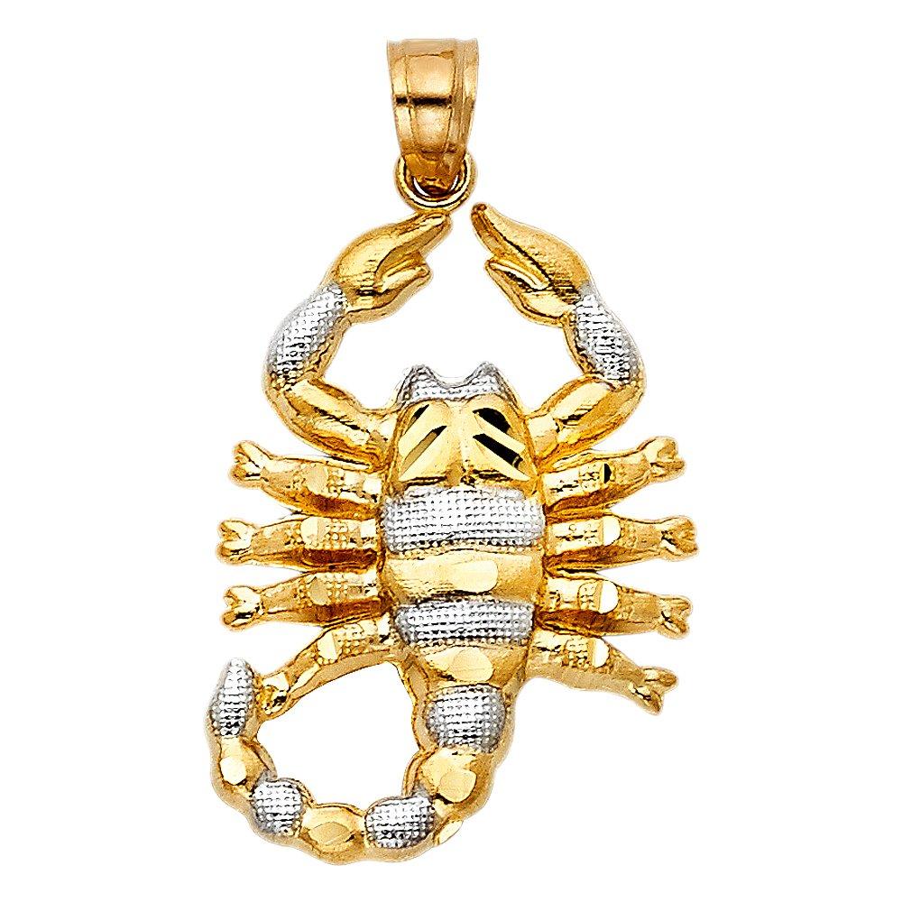 14K Two-tone Gold Scorpion Charm Pendant 28mm x 20mm
