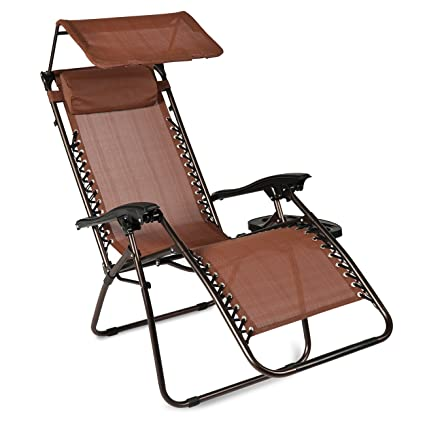 Belleze Zero Gravity Chair | Shade Blocker Folding Chair | Folding Chair |  Bungee Suspension |