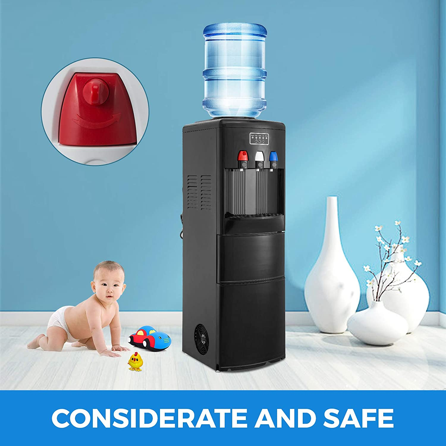VBENLEM 2 in 1Water Cooler Dispenser with Built in Ice Maker Machine Hot and Cold Top Loading 3 to 5 Gallon Bottle Electric Hot Cold Water Cooler Dispenser White