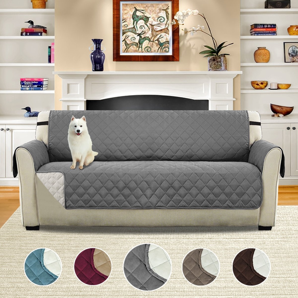 H.VERSAILTEX Luxurious Reversible Quilted Furniture Protector, Stay in Place with Adjusts Straps Microfiber Soft and Water-repellent (Sofa: Grey/Beige)-75'' X 110'' by H.VERSAILTEX
