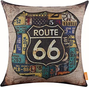 "LINKWELL 18""x18"" Vintage Rusted Look Car Plate Route 66 for Man Cave Throw Pillow Cover Brand Cushion Cover (CC1115)"