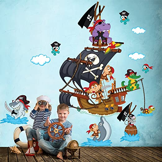 2 opinioni per R00388 Adesivo murale per bambini Wall Art- Scimmiette all'arrembaggio 2- Misure