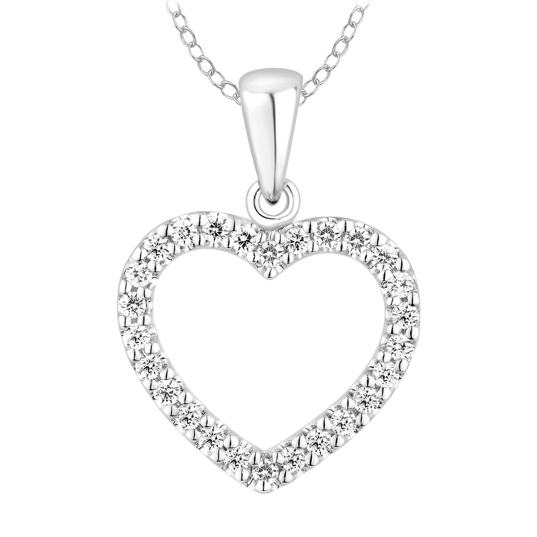 10k Heart Diamond Pendant Necklace for Womens (0.25cttw, IJ, I2-I3) 18''