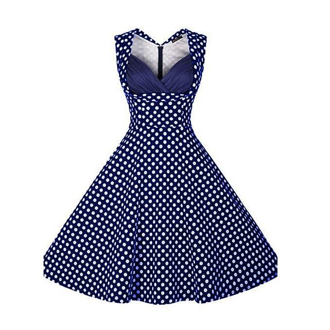 La mujer Vintage Plus Size Dot cortada con cuello en V Vestidos casuales vestidos vestidos de