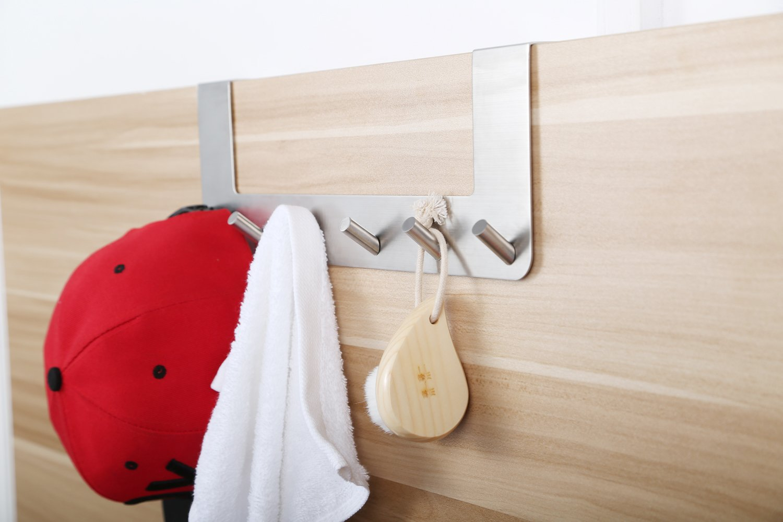 Over The Door Hooks Rack for Hanging Coat/Hat/Robe/Towel,Ulifestar Heavy Duty Stainless Steel Door Mount Rack Holder w/ 6 Hooks,Bathroom Kitchen Closet Drawer Door Hanger,Easy Install & Space Saving